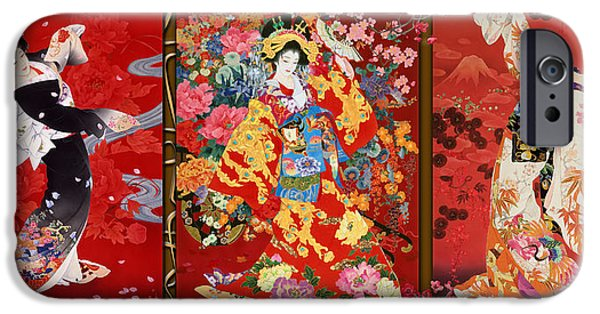 Trio iPhone Cases - Red Oriental Trio iPhone Case by Haruyo Morita