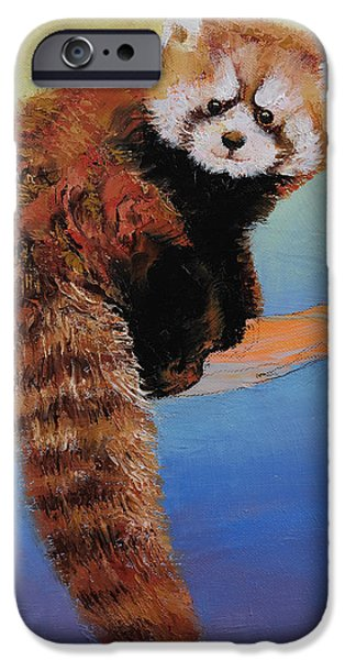 Recently Sold -  - Michael Paintings iPhone Cases - Red Panda1 iPhone Case by Michael Creese