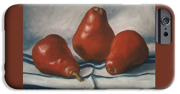 4th July Paintings iPhone Cases - Red Pears iPhone Case by Ruth Soller