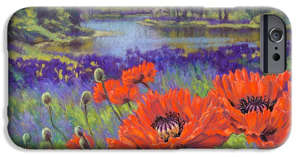 Botanical Pastels iPhone Cases - Red Poppies 1 iPhone Case by Fiona Craig