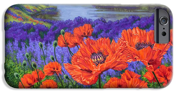 Chicago Paintings iPhone Cases - Red Poppies 2 iPhone Case by Fiona Craig