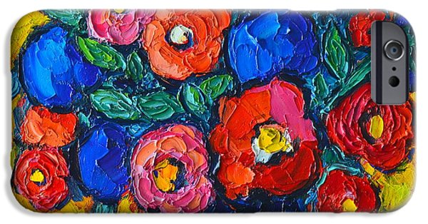 Blue Abstracts iPhone Cases - Red Poppies And Blue Flowers - Abstract Floral iPhone Case by Ana Maria Edulescu
