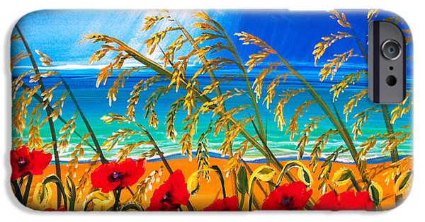 Sun Rays Paintings iPhone Cases - Red Poppies and Sea Oats by the Sea iPhone Case by Patricia L Davidson