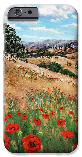 Tuscan Landscapes iPhone Cases - Red Poppies and Wild Rye iPhone Case by Laura Iverson