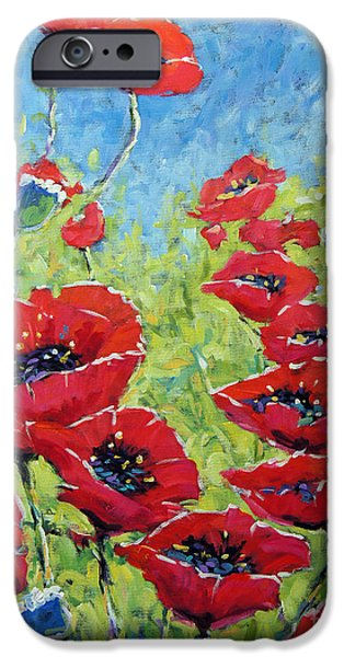 Quebec Paintings iPhone Cases - Red poppies by Prankearts iPhone Case by Richard T Pranke