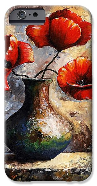 Artificial Flowers iPhone Cases - Red Poppies iPhone Case by Emerico Imre Toth