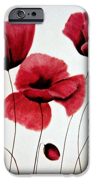 Blossom Pastels iPhone Cases - Red poppies iPhone Case by Mojgan Jafari