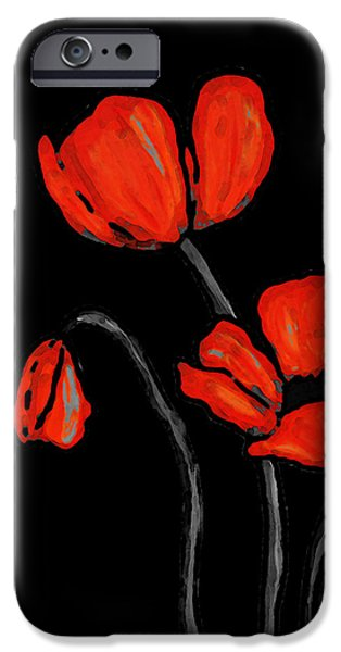 Sisters Paintings iPhone Cases - Red Poppies On Black by Sharon Cummings iPhone Case by Sharon Cummings
