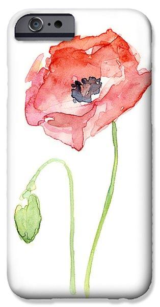 Flower Art Prints iPhone Cases - Red Poppy iPhone Case by Olga Shvartsur