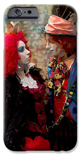 Mad Hatter iPhone Cases - Red Queen And Mad Hatter iPhone Case by Suzanne Powers