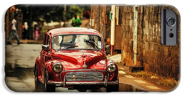 Old Cars iPhone Cases - Red RetroMobile. Morris Minor iPhone Case by Jenny Rainbow