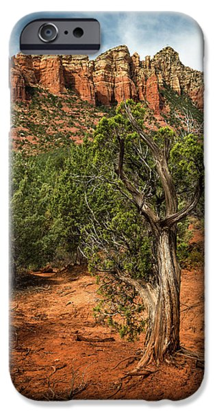 Sedona Pyrography iPhone Cases - Red Rock Mountains iPhone Case by Rick Strobaugh