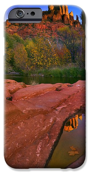 Sedona Arizona iPhone Cases - Red Rock Reflection iPhone Case by Mike  Dawson