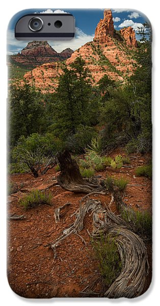 Sedona Pyrography iPhone Cases - Red Rock Spire iPhone Case by Rick Strobaugh