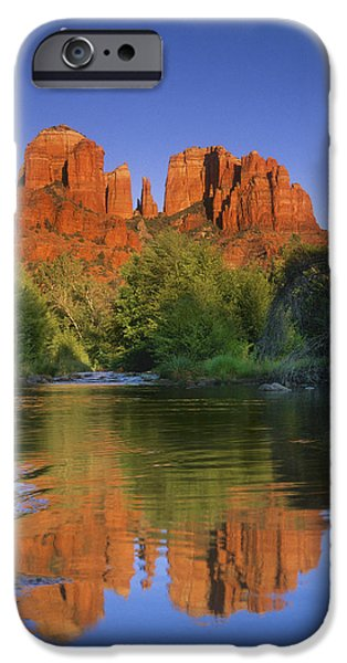 Cathedral Rock iPhone Cases - Red Rocks Moonrise iPhone Case by Quiet Heart
