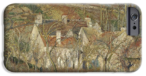 Camille Pissarro iPhone Cases - Red roofs corner of a village winter iPhone Case by Camille Pissarro