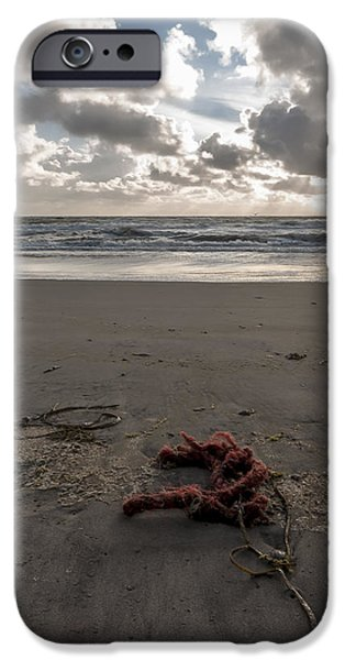 Christmas Greeting iPhone Cases - Red Rope on the Beach iPhone Case by Alex Hiemstra