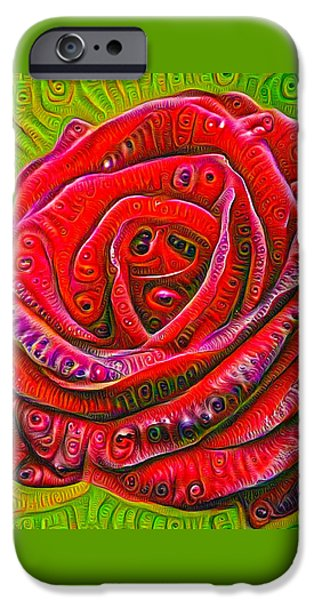 Google Mixed Media iPhone Cases - Red rose deep dream surreal picture iPhone Case by Matthias Hauser