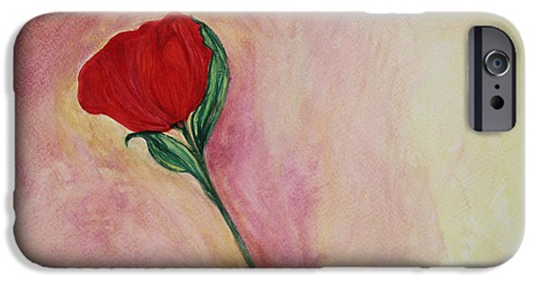 Watercolor iPhone Cases - Red Rose iPhone Case by  The Art Of Marilyn Ridoutt-Greene