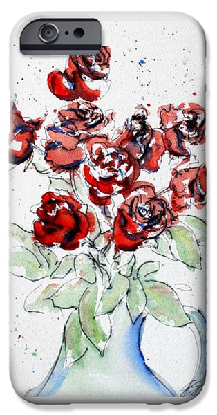 Nature Study Paintings iPhone Cases - Red Roses 2 iPhone Case by Erin Hollon