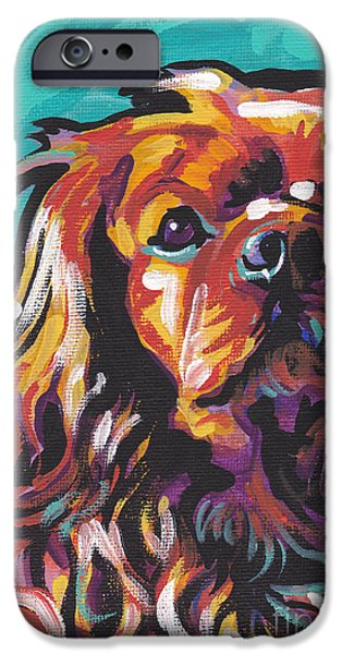 Spaniel Puppy iPhone Cases - Red Ruby iPhone Case by Lea