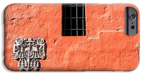 Catherine White Photographs iPhone Cases - Red Santa Catalina Monastery Wall iPhone Case by Jess Kraft