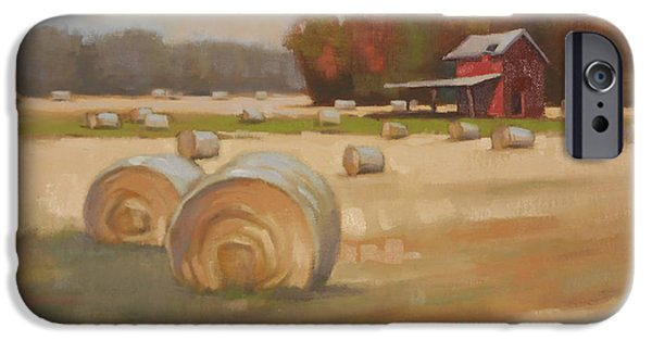 Farm Fields Paintings iPhone Cases - Red Shed iPhone Case by Todd Baxter