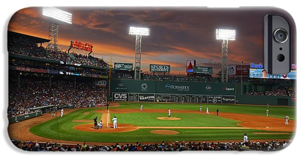 Mounds Digital iPhone Cases - Red Sky over Fenway Park iPhone Case by Toby McGuire
