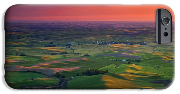 Crops iPhone Cases - Red Sky Palouse iPhone Case by Mike Dawson