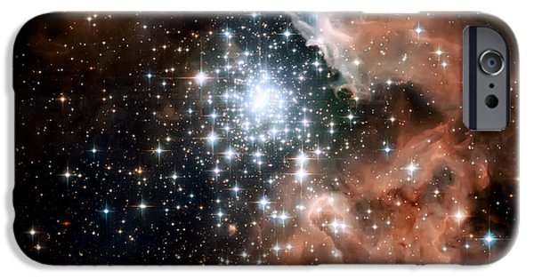 Psychedelic Photographs iPhone Cases - Red Smoke Star Cluster iPhone Case by The  Vault - Jennifer Rondinelli Reilly