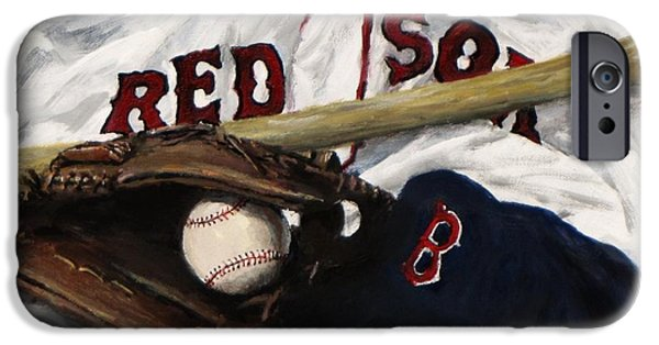 Baseball Glove iPhone Cases - Red Sox number nine iPhone Case by Jack Skinner