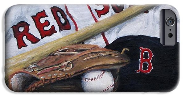 Jack Skinner Paintings iPhone Cases - Red Sox Number six iPhone Case by Jack Skinner