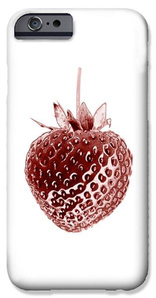 Botanical iPhone Cases - Red Strawberry Botanical Illustration iPhone Case by Frank Tschakert