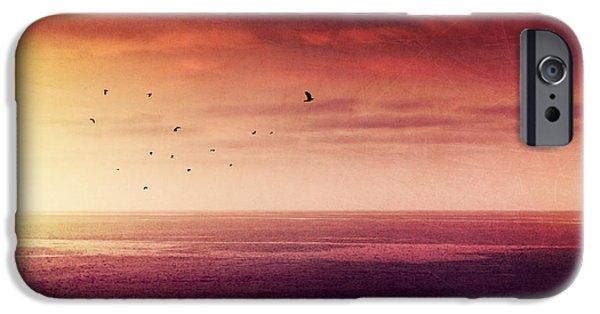 Sea Birds iPhone Cases - Red Sunrise Over The Atlantic iPhone Case by Dirk Wuestenhagen
