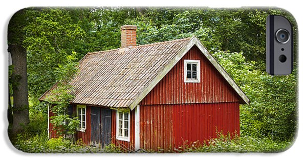 Cabin Window iPhone Cases - Red swedish cottage iPhone Case by Sophie McAulay