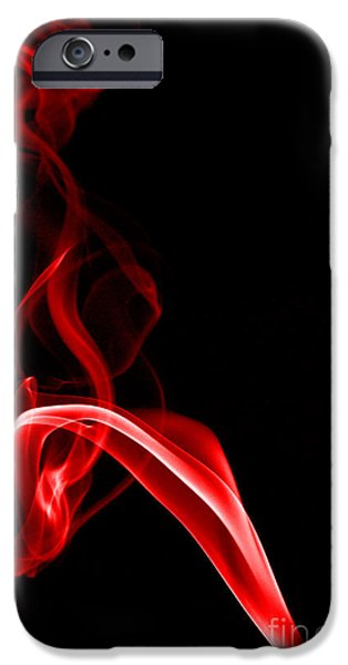 Abstract Digital Photographs iPhone Cases - Red Three iPhone Case by Steve Purnell