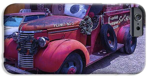 Permit iPhone Cases - Red truck Permit NO 3 iPhone Case by Garry Gay