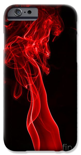 Abstract Digital Photographs iPhone Cases - Red Two iPhone Case by Steve Purnell