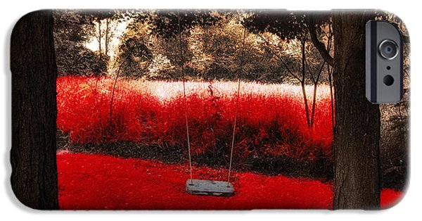 Surreal Landscape iPhone Cases - Red Velvet  iPhone Case by Mindy Sommers