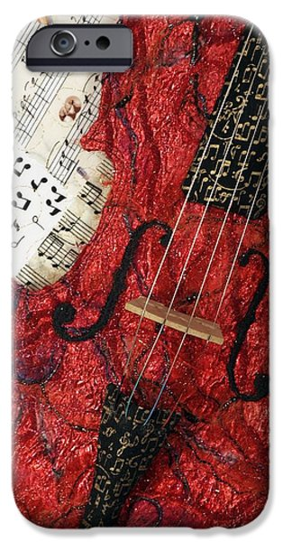 Music Tapestries - Textiles iPhone Cases - Red Violin II iPhone Case by Loretta Alvarado