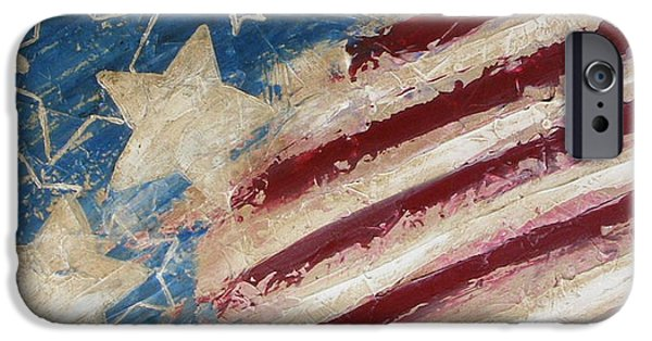 4th July Paintings iPhone Cases - Red White and Blue iPhone Case by Debera