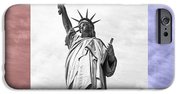 July iPhone Cases - Red White and Blue statue of Liberty iPhone Case by Toby McGuire