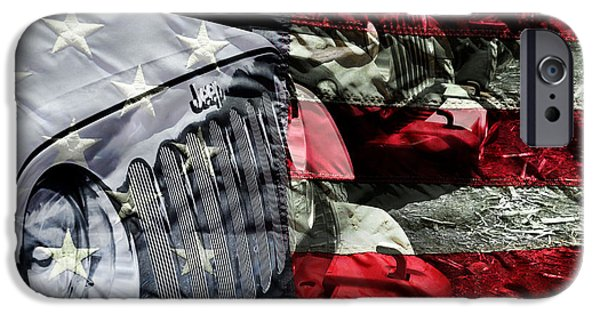 Jeep iPhone Cases - Red White and Jeep iPhone Case by Luke Moore