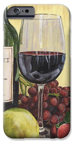 Wine Glasses Paintings iPhone Cases - Red Wine and Pear 2 iPhone Case by Debbie DeWitt