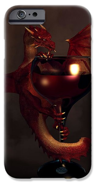 Zinfandel iPhone Cases - Red Wine Dragon iPhone Case by Daniel Eskridge