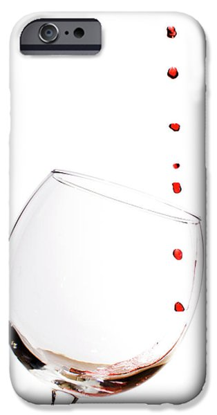 Glass Of Wine iPhone Cases - Red Wine Drops into Wineglass iPhone Case by Dustin K Ryan