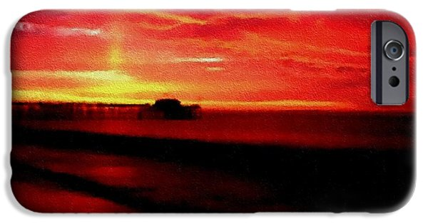 Business Pastels iPhone Cases - Red Wine Sunset H A iPhone Case by Gert J Rheeders