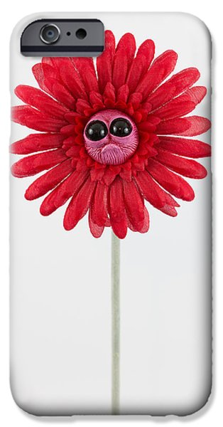 Child Sculptures iPhone Cases - Red Worried Flower iPhone Case by Michael Palmer