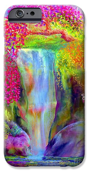 Tropical Paintings iPhone Cases - Redbud Falls iPhone Case by Jane Small