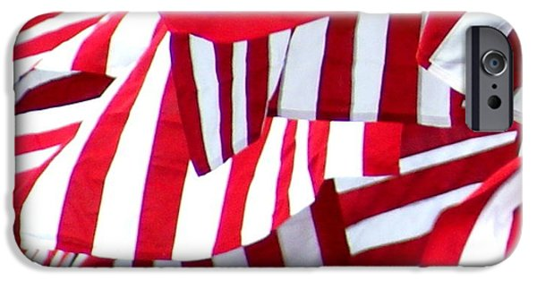 Patriots iPhone Cases - Red White Striped Flags Overlap iPhone Case by William Galloway